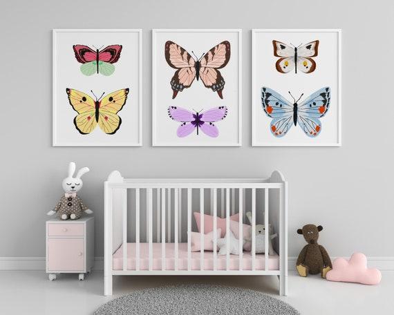 Butterfly Art Print  - Butterfly Nursery Artwork - Nursery Print - Printable Art - Nursery Wall Art - Butterfly Set of 3 -Digital Download -