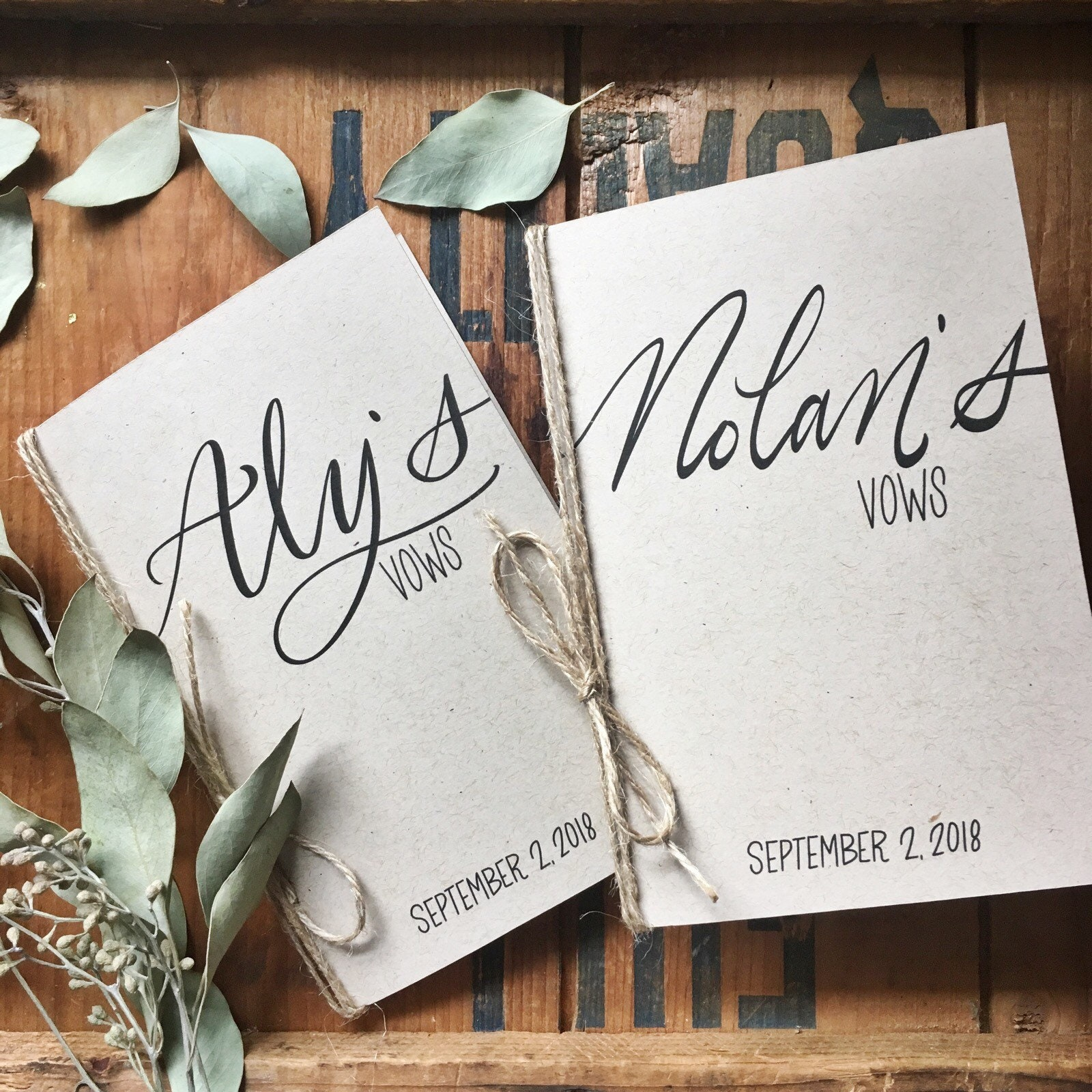 Wedding Vow Ideas For Groom: Wedding Vow Cards With Your Names Bride And Groom