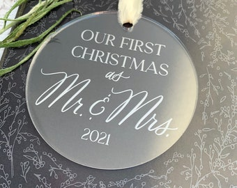 First Christmas Married Ornament - Husband Christmas Gift - Wife Christmas Gift - Wedding Gift