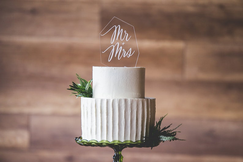 Clear Acrylic Modern Cake Topper  Glass Look Cake Topper  image 0