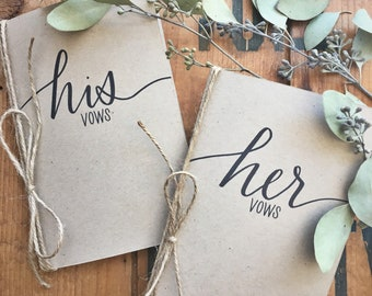 His and Her Vow Cards - Vow Card Keepsakes - His and Her Vow Card Set