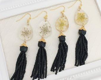 Real flower earrings|Resin earrings|Pressed flowers earrings|Tassel earrings|Boho earrings|statement earrings|Gift for her|