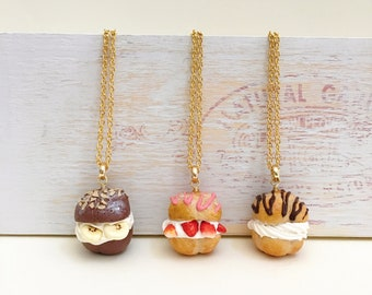 Polymer clay cream puff necklaces|Chocolate/strawberry/vanilla cream puff charms|miniature food|food jewelry|Kawaii gift|