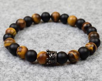 Mens Beaded Stretch Bracelet //Matte Onyx & Tiger Eye Crown  // Custom Sizing