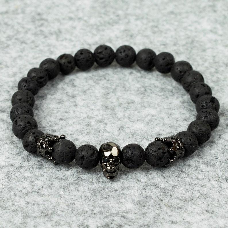 Mens Lava Beaded Bracelet // Lava Double Crown Skull  // image 0