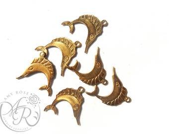 Raw Brass Swordfish Charm, 6 pcs, 16x16mm
