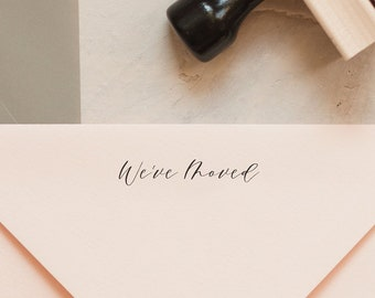 Weve Moved Stamp And Ink Pad Small Script Font New Address Rubber