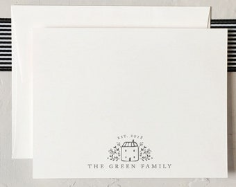 Custom Family Stationery - Personalized Couples Notecards - New Family Stationery [Q118-008]