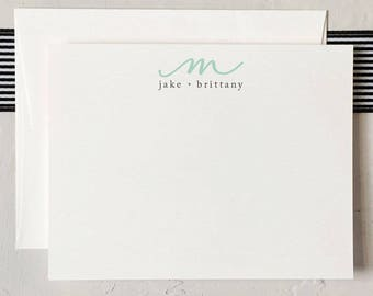 Personalized Monogram Couples Stationery - Custom Notecards - Newlywed Stationery - Wedding Thank You [Q317-001]
