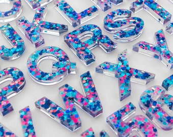 Upper + Lowercase Alphabet / Resin Letters / Montessori Learning / Sensory Play / Homeschool / Alphabet / Turquoise, Blue and Pink Glitter