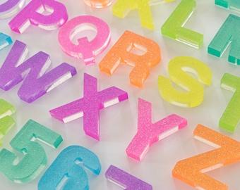 Upper + Lowercase Alphabet / Resin Letters / Montessori Learning / Sensory Play / Homeschool / Alphabet / Rainbow Sparkle Glitter