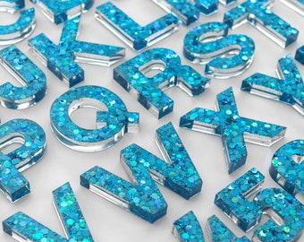 Upper + Lowercase Alphabet / Resin Letters / Montessori Learning / Sensory Play / Homeschool / Alphabet / Turquoise Sparkle Glitter