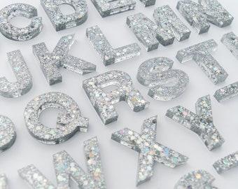 Upper + Lowercase Alphabet / Resin Letters / Montessori Learning / Sensory Play / Homeschool / Alphabet / Silver Sparkle Glitter