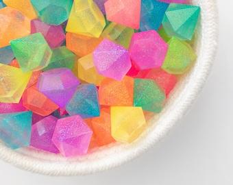 Resin Gems Jewels / Resin Letters / Sensory Play / Glitter / Neon Rainbow