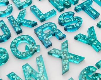 Upper + Lowercase Alphabet / Resin Letters / Montessori Learning / Sensory Play / Homeschool / Alphabet / Teal Sparkle Glitter