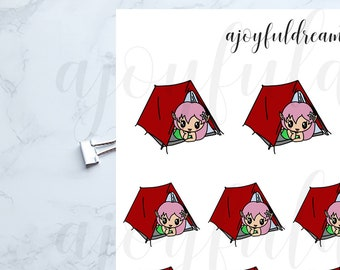 Chibi Elf - Tent Camping Trip - Planner Stickers