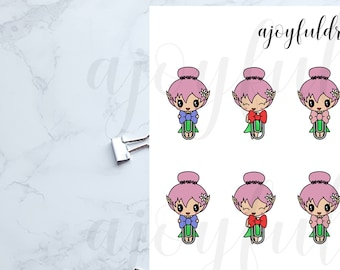 Chibi Elf - Small Bow Clips Planner Stickers