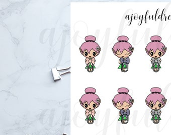 Chibi Elf - Small Glitter Bow Clips Planner Stickers
