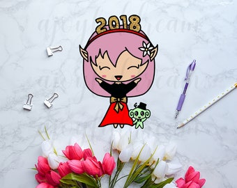 DIGITAL DOWNLOAD - Chibi Elf & Space Monkey New Year 2018