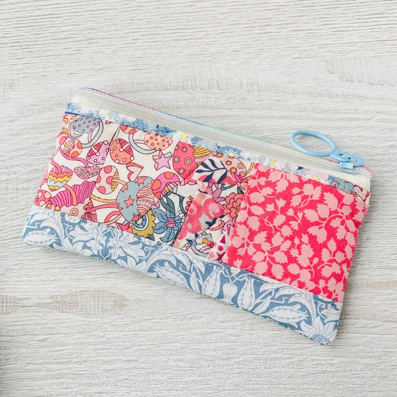 Small Zip Pouch  Liberty Fabric Patchwork image 1