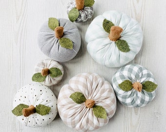 Fabric Pumpkins - Grey, White and Beige Tones