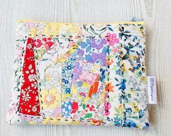Liberty Tana Lawn Fabric Patchwork Quilted Zip Up Pouch