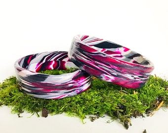 Romantic Burgundy Polymer Clay Bangle