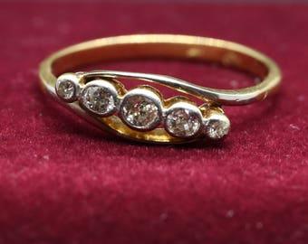 Diamond Ring 18ct Yellow Gold Art Deco Design