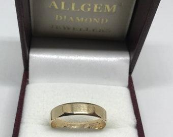 9ct White Gold Filled Wedding Ring Band Plain Slim 4mm Mens or Womens 9K GF