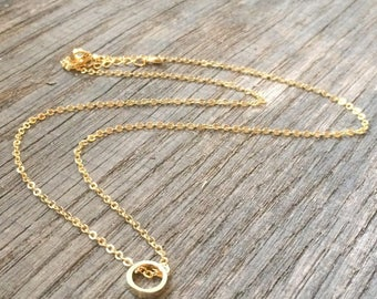 Infinity circle necklace plated gold