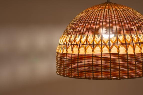 Bamboo Lamp Rustic Ceiling Light Shade Bamboo Pendant Light Etsy