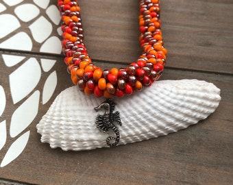 Orange Beaded Kumihimo Necklace w Seahorse Pendant & Magnetic Clasp