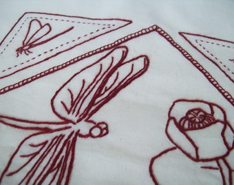 Dragonfly Embroidery Pattern, Dragonfly Redwork, PDF Embroidery Pattern