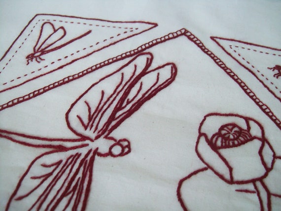 Dragonfly Embroidery Pattern Dragonfly Redwork Pdf Etsy