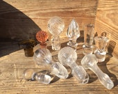 Caps are old decanters glass and Crystal, lot of 10 pieces, Old bottle stoppers in glasses and crystal, set of 10 pieces