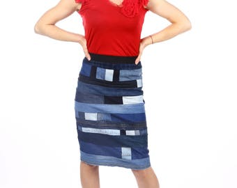 Beautiful ladies denim skirt/High Waisted Denim skirt/Womens knee length skirt/Fitted skirt/fashion denim skirt/Designer denim skirt 004
