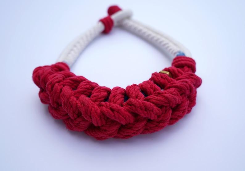 Macram\u00e9 necklaceKnot jewelryrope necklaceknot necklacehandmade jewelrymulticolor necklacestatement jewelrywomens giftcotton rope bib
