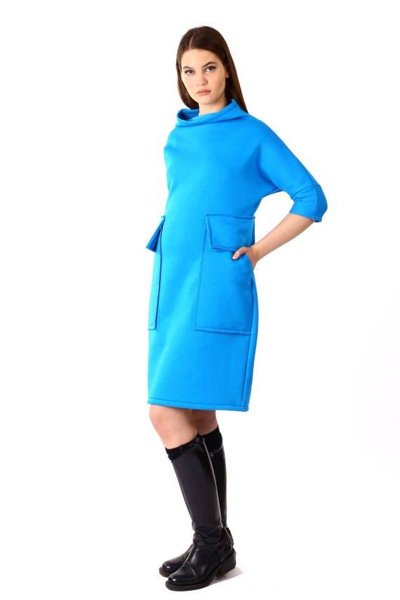 Blue Loose Tunic/Oversize Blue Dress/Blue Maxi Dress/Long Sleeve Winter  Dress/Blue Polo Dress/Plus Size Dress/Long Tunic Top/BlueTunic 020