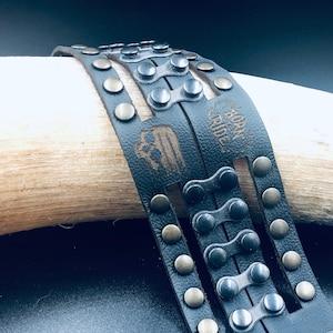 Leather bracelet   armband  mortalhead   skull bracelet