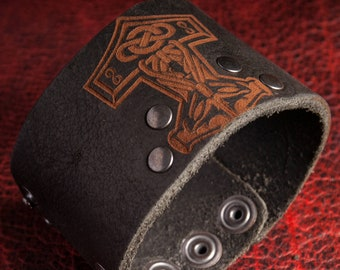 Thor Hammer Leather CUFF BRACELET Thor/'s Hammer Thorhammer Viking Vikings Pagan Norse Leather Bracelets Wristband Norse Scania Sweden Ship