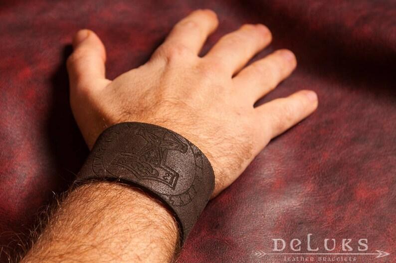 Viking Bracelet with Thor/'s Hammer Leather Wristband Leather bracelet