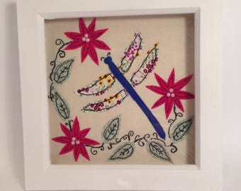 Applique picture free motion embroidery picture dragonfly picture flowers leaves