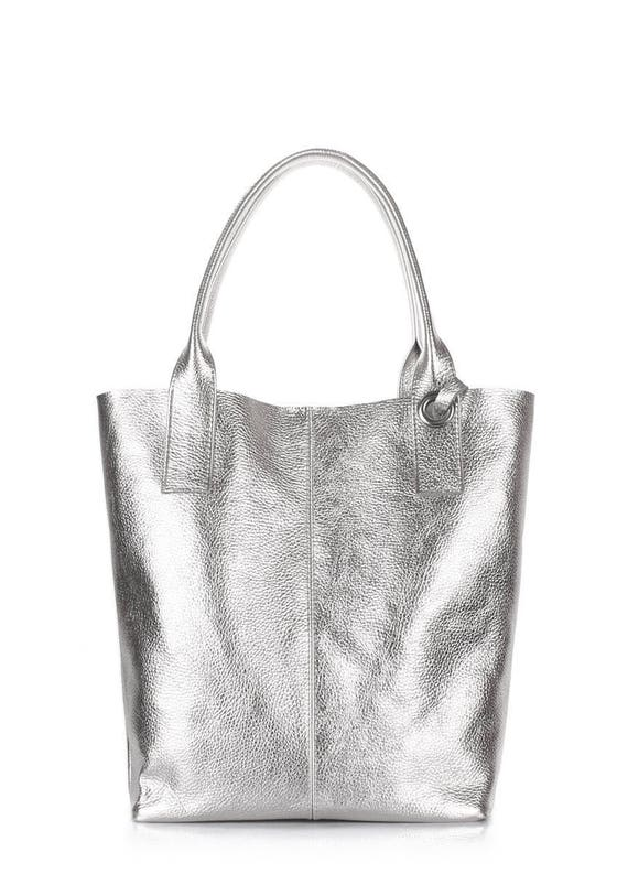 Silver leather tote bag Leather bag Silver tote Women tote  df8474b843