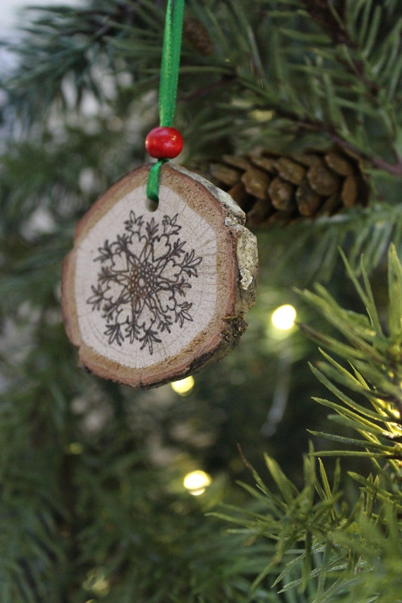 Christmas Tree In India.Handmade Wooden Christmas Tree Ornament 3 Age Of Enlightenment Textile Pattern Live Edge Wooden Disc India Ink On Oak Disc