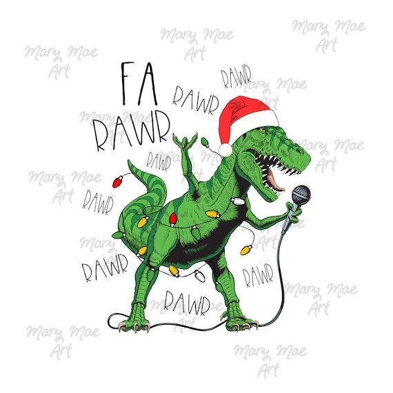 Christmas Singing Dinosaur Rawr Sublimation Transfer, Ready to press