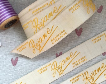 Vintage Embroidered Ribbon - Woven English Clothing Labels, 'Rejane', Vintage Crafts, Vintage Sewing, Novel Wrapping Ribbon