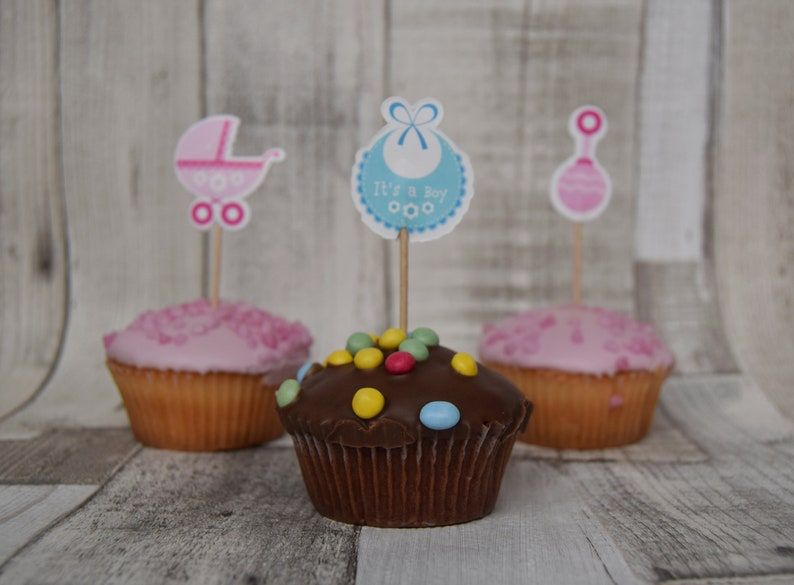 Baby Shower Cupcake Toppers Baby Girl Baby Boy Pink Blue Etsy