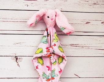 Pink cactus Lovey-bunny- soft- baby shower gift- faux fur -original design - blanket & teddy -