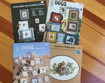 Cross Stitch Patterns: Dogs, Chipmunk and State Birds