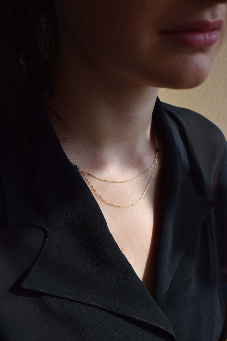 14k Gold Filled Elegant Chain Necklace Gold Onyx Necklace